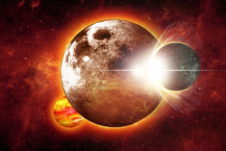 Space Collision Illustration  Abstract Space Collision Large Planet with Small One  Dark Red Glowing Space in the Background Stock Illustration - 12787907