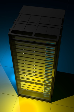 server room: Servers Rack Top View - 3D Render Illustration of Server Rack in the Dark with Blue Light in the Back and Yellow in the Front  Vertical Server Rack Illustration