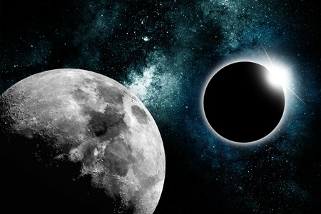 craters: Abstract Star Eclipse with Moon Like Planet on the Left  Abstract Space Theme  Horizontal Star Eclipse Design  Stock Photo