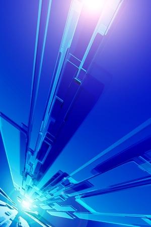thru: HiTech Blue Background  3D Glass Panels Stream  Cool Blue Hi-Tech Background