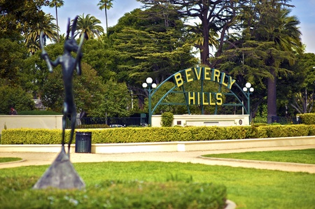 hollywood hills: Beverly Hills California  Beverly Hills Sign in the Park  Horizontal Photo