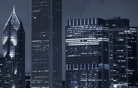 overnight: Chicago Skyscrapers After Dark. Downtown Chicago, Illinois, U.S.A. Editorial