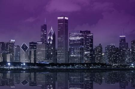 Chicago Lake Front - Chicago Skyline with Lake Michigan. Purple Dark Sky. Panoramic Photography.
