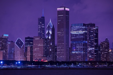 Chicago Cityscape After Dark. Chicago Skyline Photography.