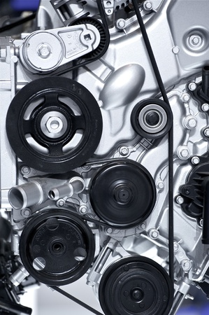 explosion engine: Aluminium Car Engine Closeup  Car Engine Vertical Photography