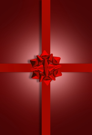 Maroon   Burgundy Present Bow  3D Rendered Maroon Glossy Bow on Maroon Background  Vertical Holiday   Presents Theme photo