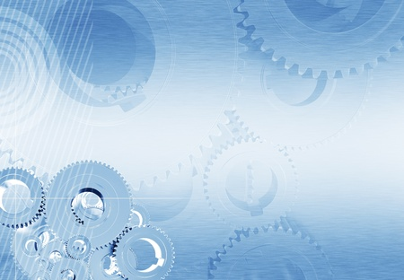 Industrial Blue Background with Metallic Gears and Polished Metal Background