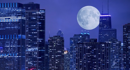 moon  metropolis: Skyline and Large Moon on the Horizon  Downtown Chicago with Hancock Tower on the Right Side  Panoramic Chicago Skyline