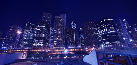 lighting: Skyline Chicago Cityscape  Chicago Downtown Panorama  Stock Photo
