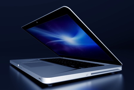 partially: Laptop Computer in the Dark  3D Rendered Modern Aluminium Laptop Partially Closed on Glossy Dark Desk  Stock Photo