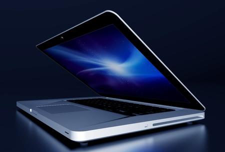 postproduction: Laptop Computer in the Dark  3D Rendered Modern Aluminium Laptop Partially Closed on Glossy Dark Desk  Stock Photo