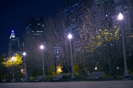 Downtown Park  Millennium Park in the Heart of Chicago  Park After Dark - Late Fall Photo  Stock Photo - 12787293