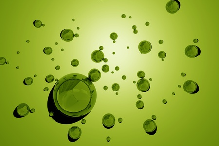 wetness: Green Water Drops  3D Rendered Green Water Drops Background Illustration