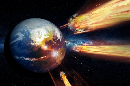 Armageddon - End of the World  Asteroids Heading and Hitting the Earth  End of the World Theme   Stock Photo - 12788339