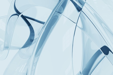 Glassy Blue Abstract Background. Cool Glass Made 3D Render Background