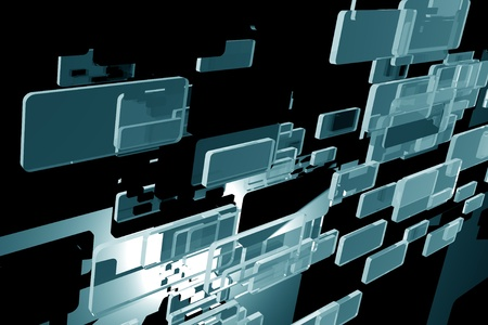 Glass Blocks Horizontal Background  3D Glass Blocks Dark Abstract Background
