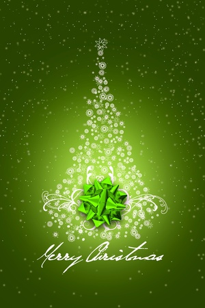 Green Christmas Design  Simple Creative Snowflakes Made Christmas Tree with Green Shiny Bow  Dark Green Background with Snow and Marry Christmas Wishes  photo
