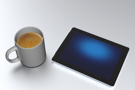 3g: Tablet PC and Coffee Mug on the Silver Matt Table  3D Rendered Illustration  Empty Blue Screen on the Tablet  Stock Photo
