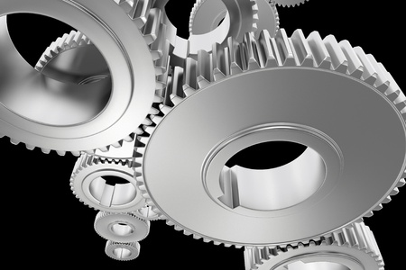 cogwheels: Steel Gears Background  Technology Background with Steel Cogwheels on Solid Black Background  3D Rendered Illustration