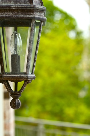 outdoor lighting: Outdoor House Lighting - Outdoor Lamp Closeup. Decorative Retro Style Lamp.