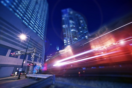 blurred lights: Night Express Train  Cool Urban Long Exposure Photography of the Night Train  Editorial