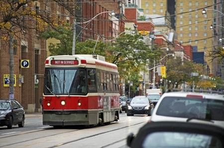 toronto: Tram Streetcar System Toronto, Canada. The Toronto Streetcar System Comprises Eleven Streetcar Routes in Toronto, Ontario. Not In Service Tram. Toronto Streets Editorial