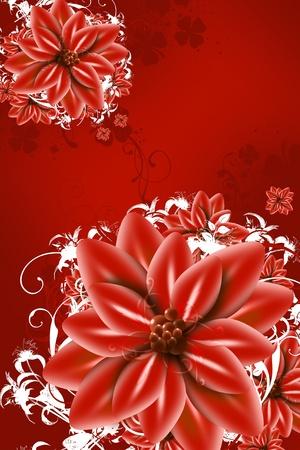 赤抽象的な花イラスト - 赤花垂直アート デザイン。