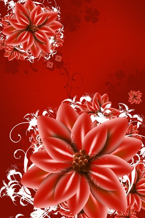Red Abstract Flowers Illustration - Red Flowers Vertical Art Design.