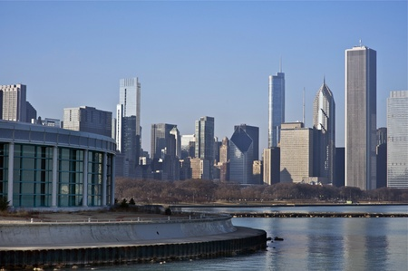 tal: Chicago Skyline East Side - Lake Front Skyline of Chicago, USA. Horizontal Photography