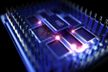 quantum: Quantum Processor Illustratie Quantum Computing Thema 3D opgebouwde model van de processor supergeleidende Chip Technology Illustraties Collectie Stockfoto