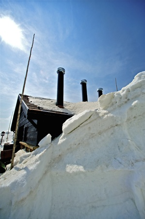 u s a: Building in the Snow  Large Snowfields in Colorado U S A  Stock Photo