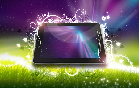 Tablet Fantasy Ornaments. Fantasy Theme with Tablet Computer ( 3D Rendered ) Aurora Polar Lights and Meadow in the Background. photo