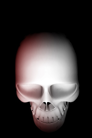 Skull Top View with Reddish Illumination  Solid Black Background - Vertical 3D Rendered Illustration illustration