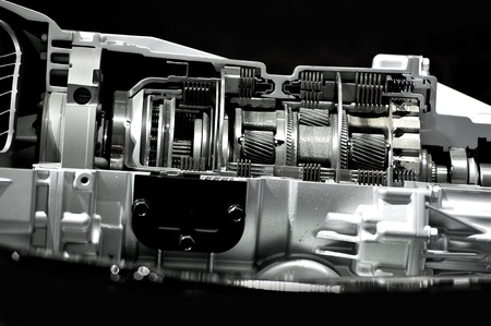 Automatic Transmission   Gearbox Section  Inside Modern Automatic Transmission  Cars Technology  Black Solid Background  photo
