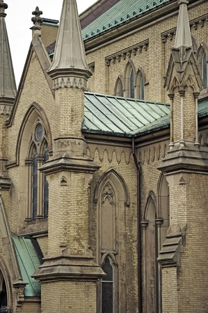 Gothic Cathedral  - Cathedral Church of St  James in Toronto, Canada is the Home of the Oldest Congregation in the City of Toronto  Vertical Close-Up Photography  Stock Photo - 12787317