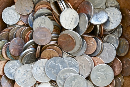 American Dollar Coins Background  Old Rustic American Coins Horizontal Closeup Photography  photo