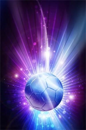 Soccer All Stars - Cool Glowing Stars Soccer Theme Background  Mysterious Purple-Pinky Colors and Soccer Ball in the Center of Shine   Rays  Vertical Design Imagens - 12788259