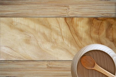 knotting: Wood Bowl Background. Wood Background with Wood Bowl and Spoon - top View. Raw Wood Kitchen Equipment. Organic Cooking Theme