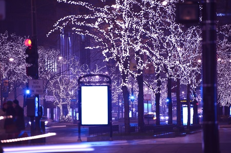 city lights: Holidays in Chicago  Christmas-Thanksgiving Michigan Ave Lights  Michigan Avenue, Chicago, USA