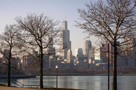 lakefront: Dry Winter in Chicago  Downtown Chicago Skyline  Picture Taken From Adler Planetarium Lakefront  Calm Lake Michigan