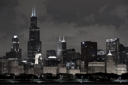 Chicago Architecture - Chicago, Illinois  Downtown Skyline Horizontal Photography with Willis Tower on the Left