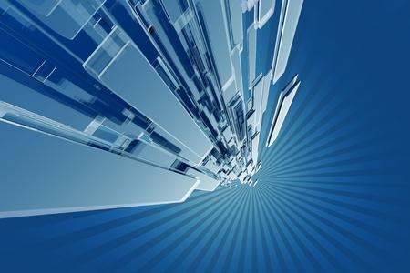 hitech: Blue Hi-Tech Design  Hi-Tech Background  3D Rendered Glassy Blocks and Copy Space