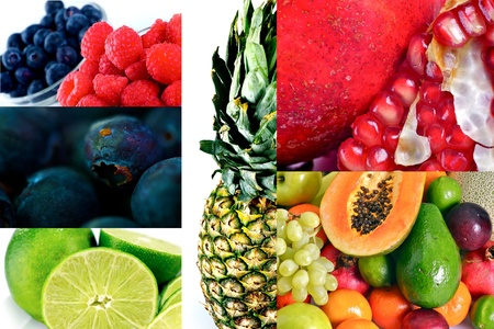 Fruits Freshness. Multi-Fruits Mosaic. Blueberries, Raspberries, Pineapple, Limes, Pomegranate, Avocado, Grapes and More! Fruits and One More Time Fruits. Stock Photo - 12787493