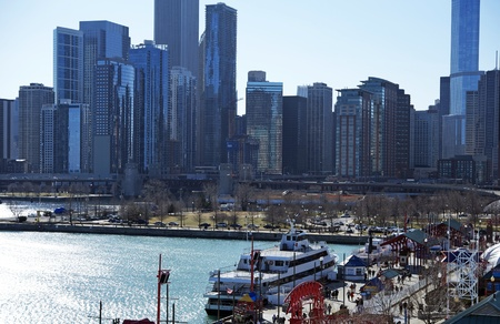 Chicago Skyline From Navy Pier  2012 Chicago Horizontal Photography Stock Photo - 12789694