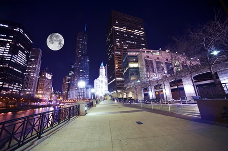Chicago Famous Riverwalk - Chicago Riverwalk at Night  Beautiful Colorful Wide Angle Photography  Large Moon on the Sky  Chicago, Illinois, USA