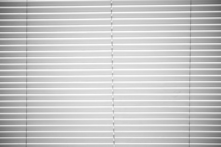 White Plastic Horizontal Window Blinds Background Stock Photo