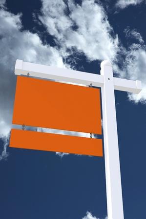 resale: Realtor Agent Sign - Real Estate Yard Sign Vertical Illustration  Blank Orange Signs - Cloudy Sky  Stock Photo