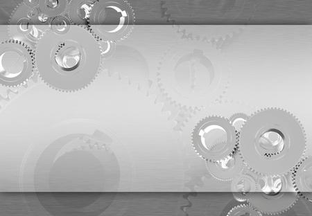 Silver Metallic Gears Background - Technology Metallic Gray Silver Background with Copy Space  Foto de archivo