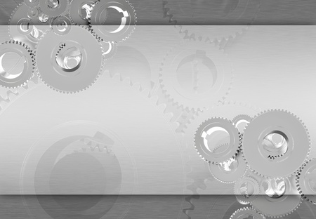 Silver Metallic Gears Background - Technology Metallic Gray Silver Background with Copy Space  Stock Photo