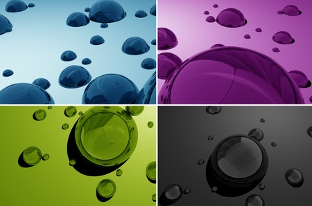 macro: Water Drops 3D  Beautiful Four Color 3D Render Illustration with Water Drops  Water Drops Multicolor Background